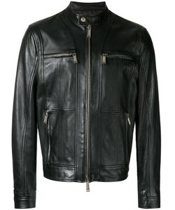Dsquared2 | Zipped Panel Leather Jacket 54 Calf Leather/Polyester