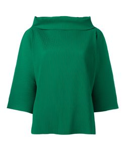 Issey Miyake Cauliflower   Ribbed Wide Funnel Neck Top Polyester