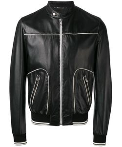 Dolce & Gabbana | Contrast Trim Leather Jacket 48
