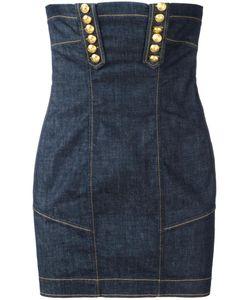 Dsquared2 | Strapless Denim Mini Dress 36 Cotton/Polyester/Spandex/Elastane