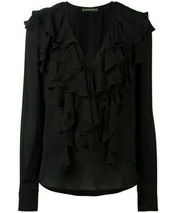 Plein Sud | Deep V-Neck Ruffled Blouse 40 Silk