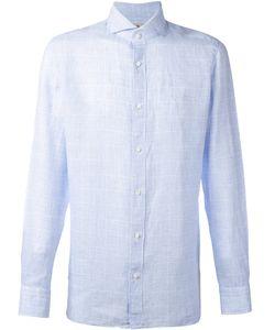 BORRELLI | Tonal Plaid Shirt 40 Linen/Flax