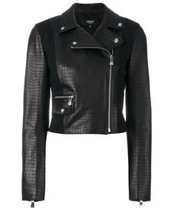 Versus | Embossed Crocodile Effect Biker Jacket Lamb