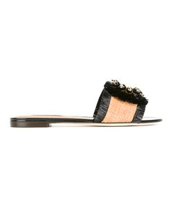 Dolce & Gabbana | Woven Sandals 36.5 Straw/Leather/Metal Other