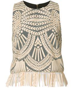 Nicole Miller   Peplum Hem Top Large Polyester