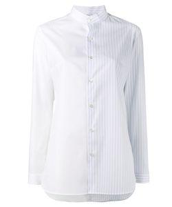 MARIE MAROT | Half Stripe Collarless Shirt Size Xs