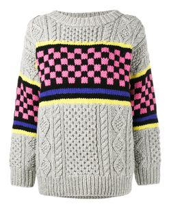 ASHLEY WILLIAMS | Chunky Checkerboard Knitted Jumper Size Small Lambs