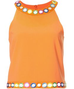 Moschino | Mirror Embellished Sleeveless Top 40 Polyester/Triacetate