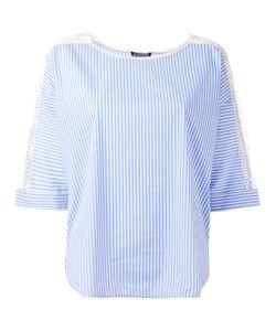 Twin-set | Striped Lace Trim Blouse Size 42