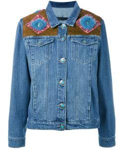Simonetta Ravizza | Shoulder Panel Denim Jacket Size Large Cotton/Suede/Mink