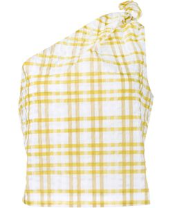 Rosie Assoulin | Checked On Shoulder Top Medium Polyester/Polyamide/Cotton