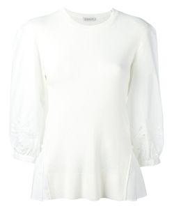 Moncler | Embroidered Bi-Material Blouse Size Medium