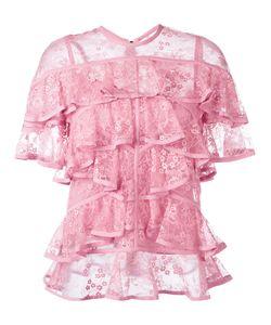 Elie Saab | Ruffled Lace Blouse 40 Silk/Nylon/Polyamide/Polyester