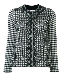 Sonia Rykiel | Gingham Plaid Tweed Jacket Small Cotton/Viscose/Polyamide/Virgin