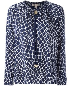 Michael Michael Kors | Patterned Neck-Tie Blouse Size Medium
