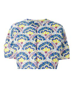 P.A.R.O.S.H. | Repeated Pattern Short-Sleeve Crop Jacket Medium Polyester/Polyamide