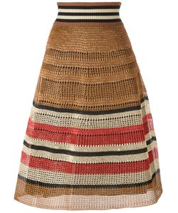 Red Valentino | Knitted Midi Skirt Medium Cotton/Viscose/Straw