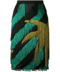 Marco De Vincenzo | Striped Fringed Straight Skirt