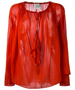 Forte Forte | Drawstring Neck Sheer Blouse Size 0