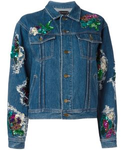 Night Market | Foral Patches Denim Jacket Small Cotton/Sequin/Pvc/Vinyl