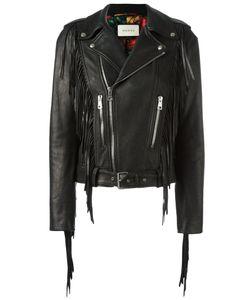 Gucci   Fringed Biker Jacket 40 Leather/Silk