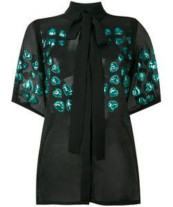 Elie Saab | Полупрозрачная Блузка С Цветочной Отделкой