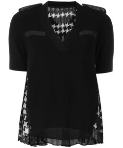 Sacai | Houndstooth Panel Knitted Top 3 Cotton/Polyester/Cupro