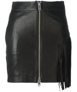 Diesel | Fringed Leather Skirt 30 Lamb Skin/Cotton