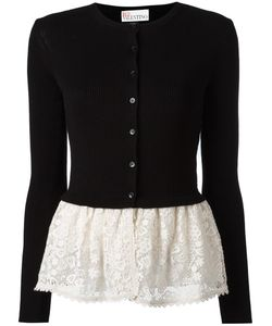 Red Valentino | Lace Detail Buttoned Cardigan Large Cotton/Polyester/Spandex/Elastane