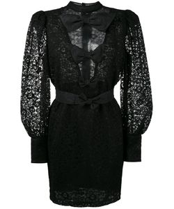 Alessandra Rich | Sheer Lace Mini Dress With Bow Detail
