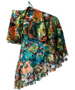 Marques Almeida | Marquesalmeida One Shoulder Ruffled Blouse Small Polyester/Polyurethane/Silk