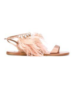 Miu Miu | Feathers Trim Sandals Size 36.5