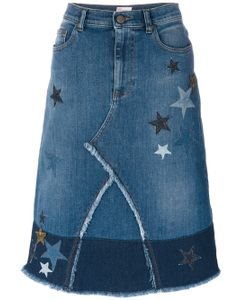 Red Valentino | Star Patches Denim Skirt