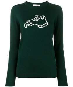 Bella Freud   Dog Intarsia Sweater Small Wool