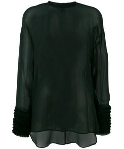 Cedric Charlier | Cédric Charlier Gathered Cuffs Sheer Blouse Size 42