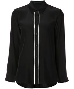 Jenni Kayne | Contrast Trim Button-Up Shirt Medium Silk