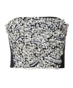 Vera Wang   Embellished Strapless Top 10 Wool/Glass/Plastic