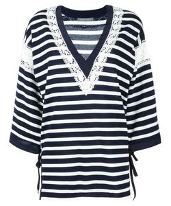 Alberta Ferretti | Striped V-Neck Jumper 44 Silk/Cotton/Acetate/Other Fibers