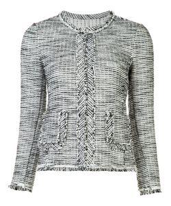 Rebecca Taylor | Frayed-Edge Blazer Jacket 10 Cotton/Polyamide/Spandex/Elastane