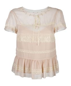 Red Valentino | Lace Insert Shortsleeved Blouse Size