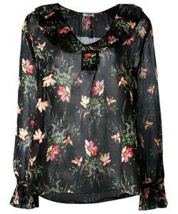 VILSHENKO | Pleated Collar Blouse 10 Cotton/Silk