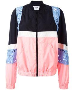 MSGM | Lace Zipped Bomber Jacket 40 Polyamide/Polyester
