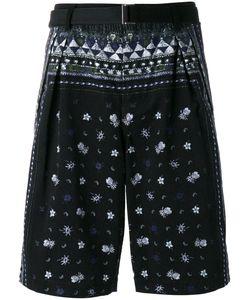Sacai | Aloha Scarf Print Corduroy Shorts 2 Cotton