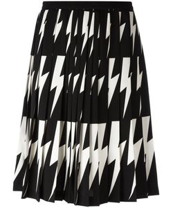 Neil Barrett | Lightning Bolt Pleated Skirt 38 Polyester