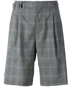 MAISON FLANEUR | Checked Belted Shorts 50 Virgin Wool/Viscose