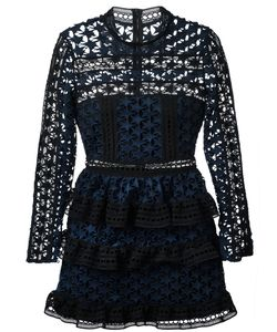 SELF-PORTRAIT | Star Lace Panelled Dress 12 Spandex/Elastane/Polyester