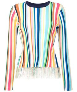 Milly   Striped Fringe Trim Top