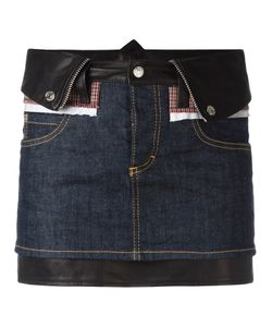 Dsquared2 | Mini Denim Skirt 40 Cotton/Spandex/Elastane/Polyester/Calf Leather