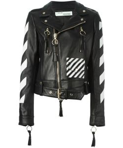 OFF-WHITE | Logo Print Biker Jacket Large Lamb Skin/Viscose