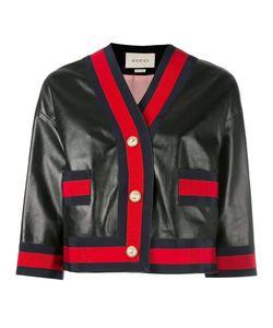 Gucci   Web Trim Leather Jacket Size